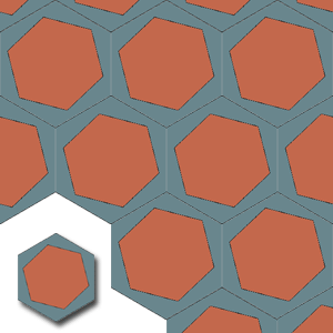 fait a main carreaux de ciments HEX005